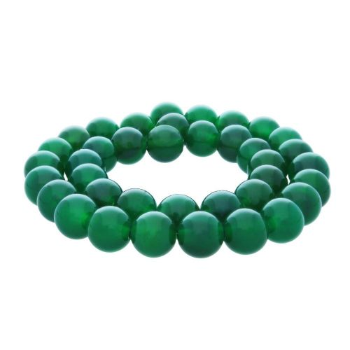 Green agate / round / 10mm / 38pcs