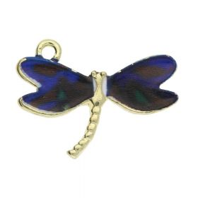 SweetCharm ™ Dragonfly / charm pendant / 16x22x2mm / gold plated / dark blue / 2pcs