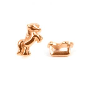 Rose Gold Zamak Little Pony Slider Bead 6x11mm Hole-2x5mm Pk1