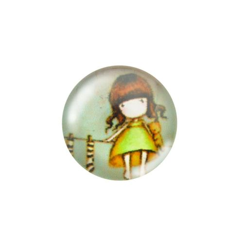 Glass cabochon with graphics 14mm PT1507 / green / 4pcs