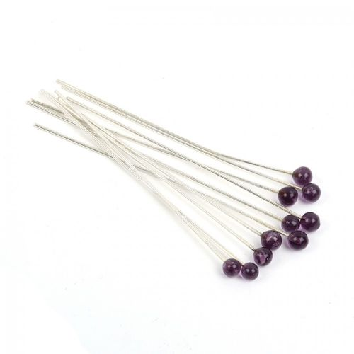 """Purple Glass 4mm Round Silver Plated Headpins 2"""" Pk10"""