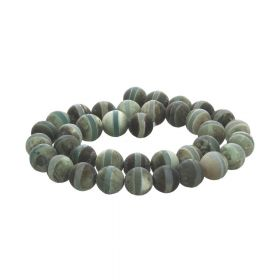 Tibetan agate / round / 10mm / dark green / 37pcs