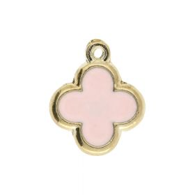 SweetCharm™ Clover/ charms pendant / 15x13x1.5mm  / gold plated / pink / 2pcs