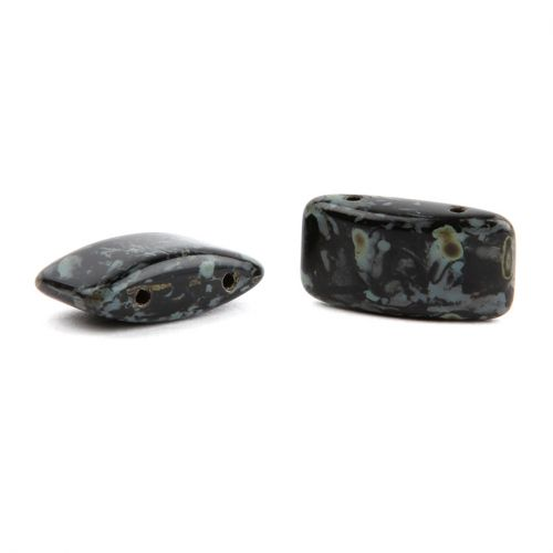 Preciosa Glass Carrier Beads 9x17mm Black and Grey Pk10