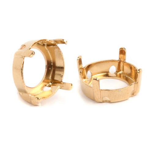 1122/S Swarovski Twin Hole Rivoli Fancy Setting 12mm Gold Plated Pk1