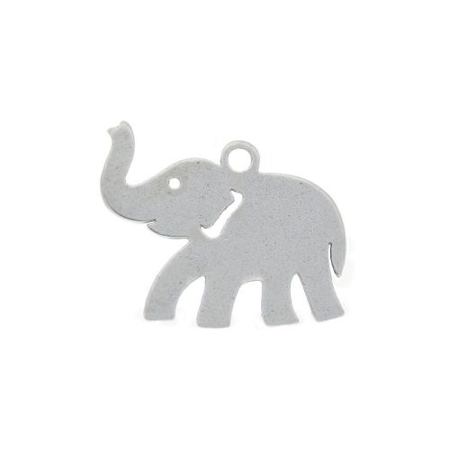 Elephant / charm / surgical steel / 11x9mm / silver / 4pcs