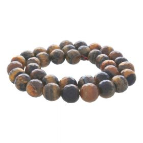Tiger's eye / faceted round / 6mm / 62pcs