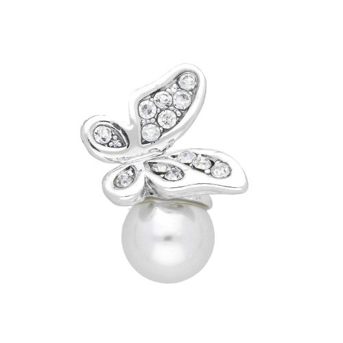 Glamm ™ Butterfly with pearl / charm pendant / 13 zircons / 26x15x12mm / silver / 1pcs