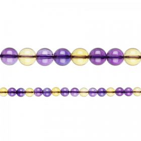 "Natural Ametrine Semi Precious Round Beads 4mm 15"" Strand"