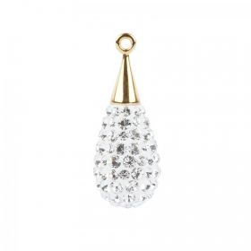 67563 Swarovski Crystal Pave Drop 10x26mm Gold Plated Crystal Pk1