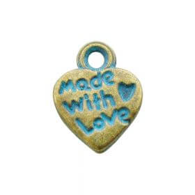 Heart - made with love / charm pendant / 12x10mm / antique bronze - aqua / hole 1.5mm / 6pcs