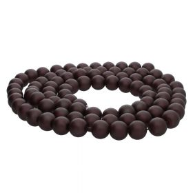 SeaStar™ satin / round / 8mm / chocolate / 120pcs