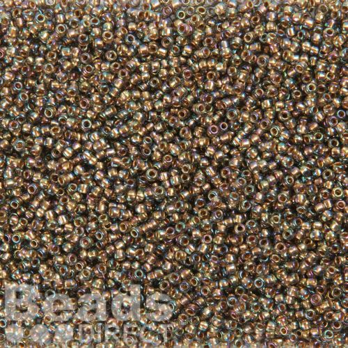 X-Toho Size 11 Round Seed Beads Gold Lined Rainbow Black Diamond 10g