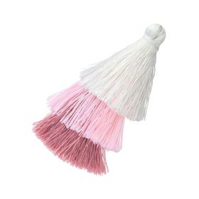 Tassel / viscose thread / triple layer / 70mm / width 7mm / multicolour / 1pcs
