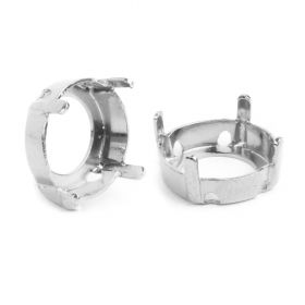 1122/S Swarovski Twin Hole Rivoli Fancy Setting 12mm Rhodium Plated Pk1
