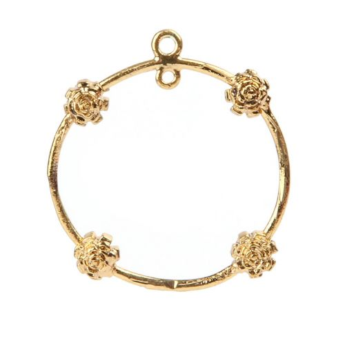 X-Gold Plated Ring with Flowers 2 Loops at Top 23mm Pk1