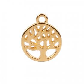 Gold Plated Zamak Small Tree of Life Charm 10mm Pk2