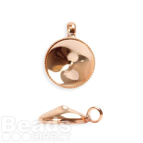 Rose Gold Plated SS47 (10.5mm) Rivoli Charm Holder 12mm with Loop Pk2