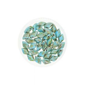GEMDUO™ / 8x5mm / Picasso / Blue Turquoise / 5g / ~35pcs