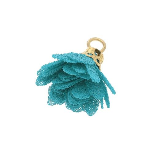 Tulle flower / with openwork tip / 18mm / Gold Plated / turquoise / 4 pcs