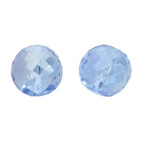 CrystaLove™ crystals / glass / faceted round / 6x8mm / blue / transparent / iridescent / 6pcs