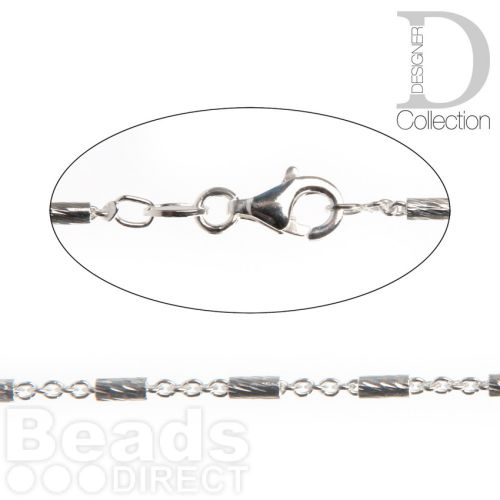 X-Sterling Silver 925 Link and Bar Fancy Chain 2mm with Clasp 45.5cm