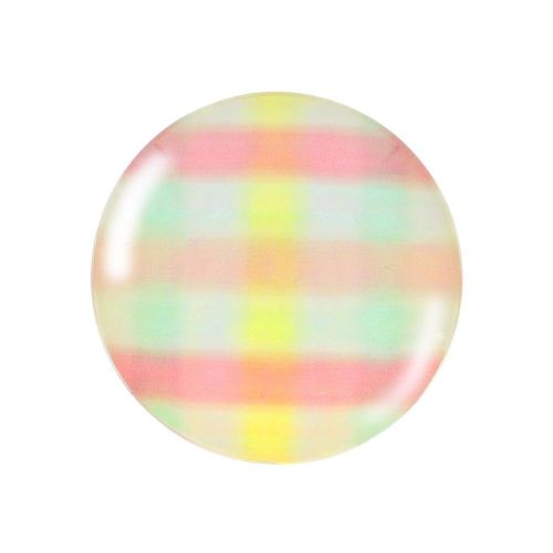 Glass cabochon with graphics K25 PT1261 / pink / 25mm / 2pcs