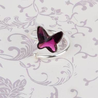 Crystal Flutterby Ring