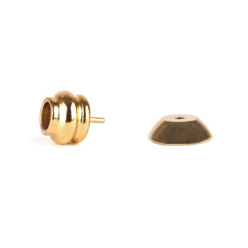 Gold Plated End and Cap for Half Drilled Bead 4mm Pk2