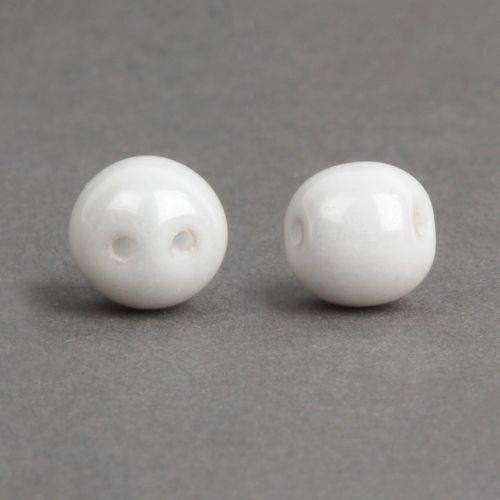 Dobble Czech Glass Beads White Luster 8mm Pk20