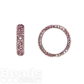 85001 Swarovski Crystal Pave 2 Hole Thread Ring 14.5mm Crystal Lilac Shadow Pk1