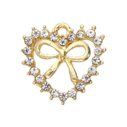 Glamm ™ Heart with bow / charm pendant / with zircons / 17x17.5x4mm / gold plated / 1pcs