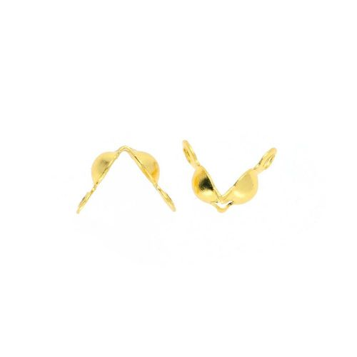 Calottes / classic / surgical steel / 3mm / gold / 1mm hole / 20pcs