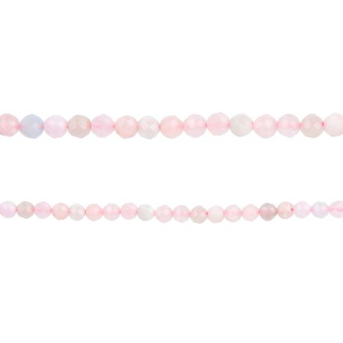 "Morganite Semi Precious Faceted Round Beads 3mm 15"" Strand"