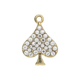 Glamm ™ Ace of Spades / charm pendant / with zircons / 18x13x3mm / gold plated / black / 1pcs