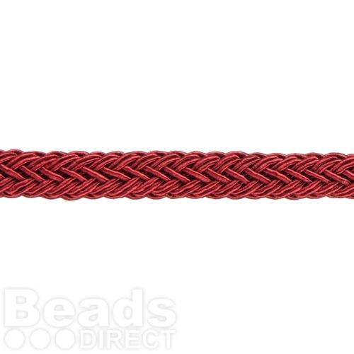 Bordeaux Polyester Braided Chunky Cord 8x10mm 1 Metre