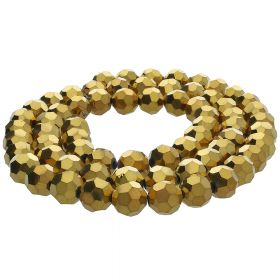 CrystaLove™ / glass crystals / round / 3mm / gold / lustered / 200pcs