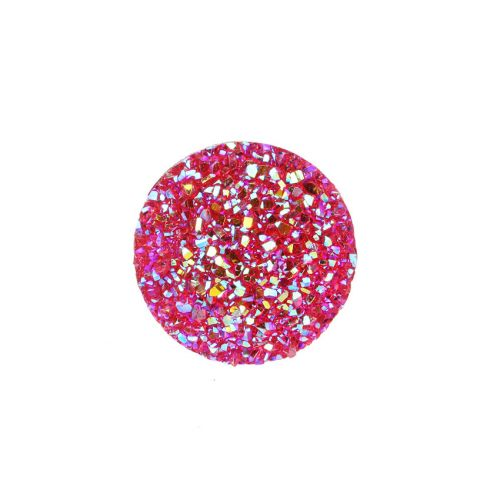 """X"" Fuchsia AB Sparkly Resin Round Flat Back Cabochons 25x25mm Pk5"