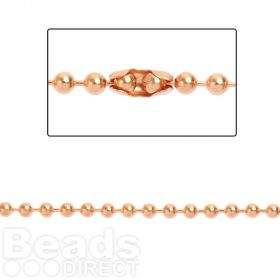 Rose Gold Plated Brass 3mm Ball Chain with 2 Clasps 1metre