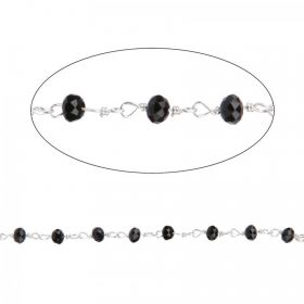 Black Glass Silver Plated Rosary Bead Chain Pre Cut 1m
