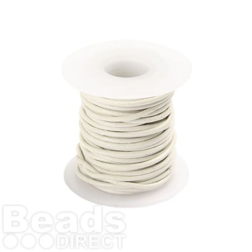White Round Leather Cord 1mm 5 Metre Reel