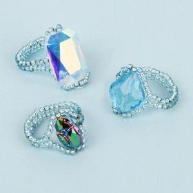 Aqua Crystal Rings Made with Swarovski TAMB Kit - Makes x3