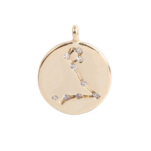 Gold Plated Pisces Constellation Zodiac Charm 11mm Pk1