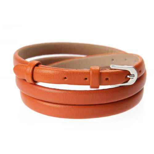 Orange Faux Leather Bracelet Strap with Buckle and Holes 62cm Pk1