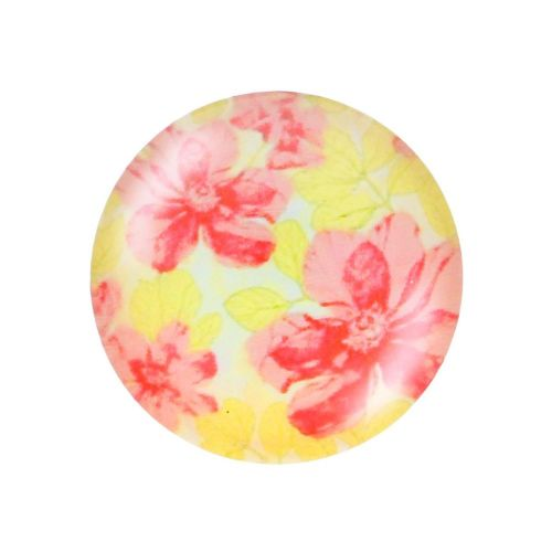 Glass cabochon with graphics K25 PT1300 / yellow-pink / 25mm / 2pcs