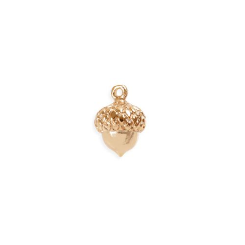X- Rose Gold Plated Brass Acorn Charm 9mm Pk1