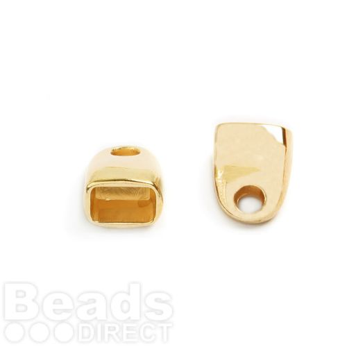 Gold Plated Zamak Cord Ends 13x16mm for 7x10mm Cords Pk2