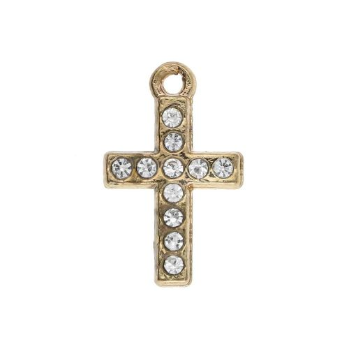 Glamm ™ Cross / charm pendant / with zircons / 15x10x3mm / gold plated / 1pcs