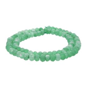 Agate / faceted rondelle / 4x6mm / green / 92pcs
