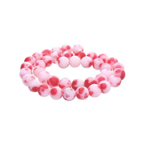 Jade / round / 8mm / red-white / 50pcs